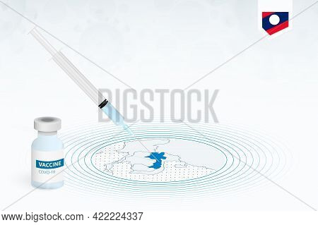 Covid-19 Vaccination In Laos, Coronavirus Vaccination Illustration With Vaccine Bottle And Syringe I