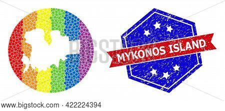 Dot Spectrum Map Of Mykonos Island Collage Created With Circle And Stencil, And Grunge Seal. Lgbtq S