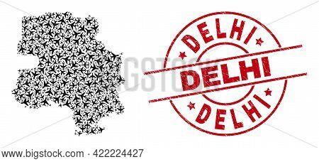 Delhi Textured Badge, And New Delhi City Map Collage Of Aviation Elements. Collage New Delhi City Ma