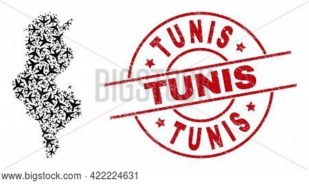 Tunis Textured Seal Stamp, And Tunisia Map Collage Of Aviation Items. Collage Tunisia Map Designed O