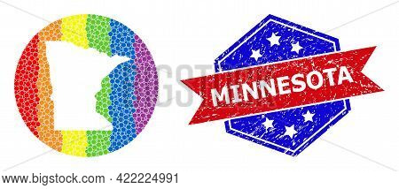 Dot Rainbow Gradiented Map Of Minnesota State Collage Formed With Circle And Stencil, And Distress S