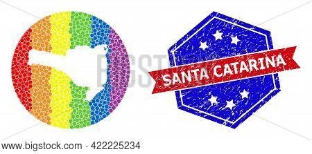 Dotted Spectrum Map Of Santa Catarina State Mosaic Composed With Circle And Carved Shape, And Textur