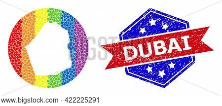 Pixel Rainbow Gradiented Map Of Dubai Emirate Collage Designed With Circle And Carved Shape, And Tex