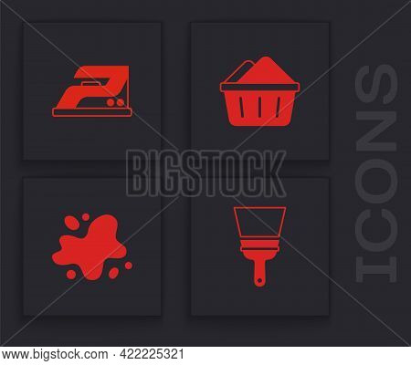 Set Rubber Cleaner For Windows, Electric Iron, Basin With Soap Suds And Water Spill Icon. Vector