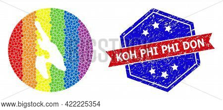 Dotted Rainbow Gradiented Map Of Koh Phi Don Mosaic Created With Circle And Subtracted Space, And Gr