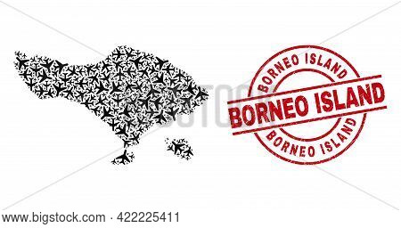 Borneo Island Rubber Badge, And Bali Map Mosaic Of Air Plane Items. Mosaic Bali Map Designed With Ae
