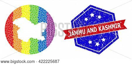 Dot Rainbow Gradiented Map Of Jammu And Kashmir State Collage Designed With Circle And Cut Out Shape
