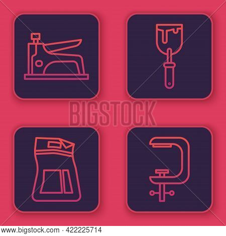 Set Line Construction Stapler, Cement Bag, Putty Knife And Clamp And Screw Tool. Blue Square Button.