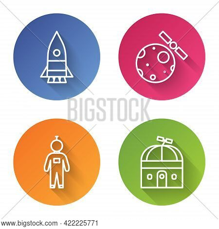 Set Line Rocket Ship, Satellites Orbiting The Planet Earth, Astronaut And Astronomical Observatory.