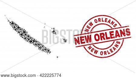 New Orleans Scratched Seal Stamp, And New Caledonia Islands Map Mosaic Of Aviation Elements. Mosaic