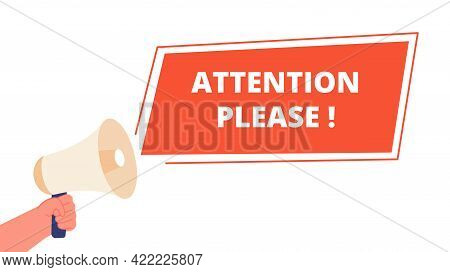 Attention Please Banner. Announce Information, Important Announcement Message. Alert Caution Sign An