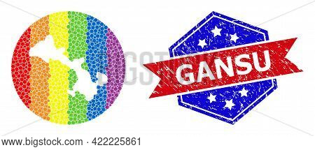 Pixelated Spectral Map Of Gansu Province Collage Designed With Circle And Carved Shape, And Textured