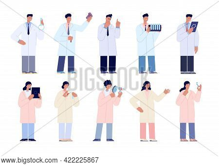 Research Characters. Lab Scientist, Science Doctors Team. Medical Laboratory, Chemistry Biotechnolog