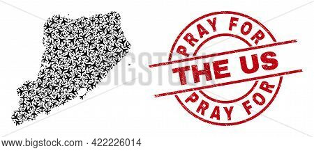 Pray For The Us Distress Badge, And Staten Island Map Mosaic Of Air Plane Elements. Mosaic Staten Is