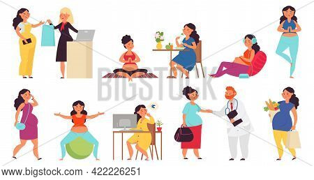 Pregnant Woman. Pregnancy Time, Female Waiting Baby. Daily Routine Of Future Mother. Healthy Motherh