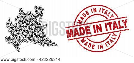 Made In Italy Rubber Stamp, And Lombardy Region Map Mosaic Of Air Force Elements. Collage Lombardy R