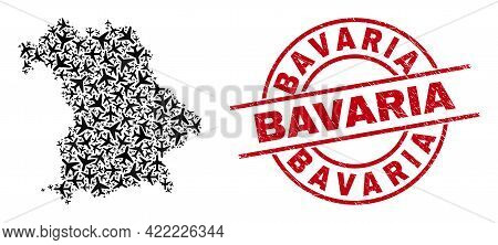 Bavaria Scratched Badge, And Bavaria Land Map Collage Of Aircraft Elements. Collage Bavaria Land Map