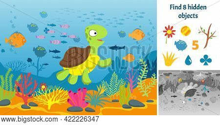 Find Hidden Objects. Puzzle Game Kids With Fish. Underwater Fun Brain Teaser Looking Different Items