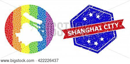 Dotted Spectral Map Of Shanghai Municipality Collage Created With Circle And Carved Shape, And Textu