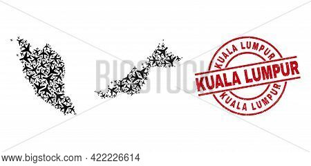Kuala Lumpur Grunge Stamp, And Malaysia Map Collage Of Air Force Items. Collage Malaysia Map Designe