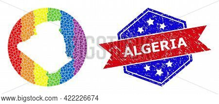 Pixel Spectrum Map Of Algeria Mosaic Composed With Circle And Cut Out Shape, And Textured Badge. Lgb