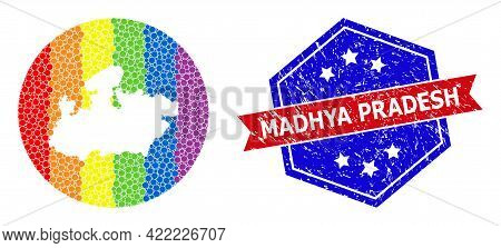 Dot Spectrum Map Of Madhya Pradesh State Mosaic Created With Circle And Subtracted Shape, And Distre