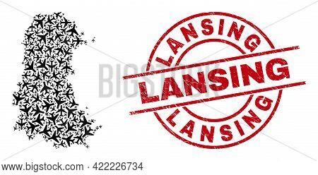 Lansing Distress Seal Stamp, And Palencia Province Map Mosaic Of Aeroplane Items. Mosaic Palencia Pr
