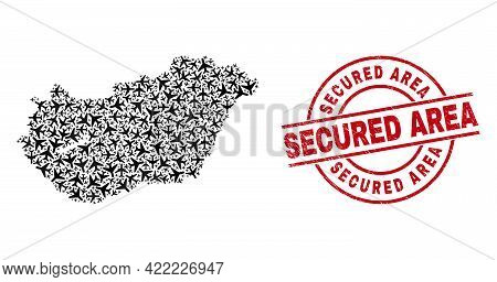 Secured Area Grunged Seal Stamp, And Hungary Map Collage Of Jet Vehicle Items. Collage Hungary Map C