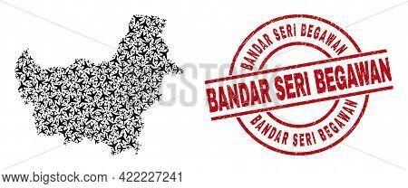 Bandar Seri Begawan Scratched Seal Stamp, And Borneo Map Mosaic Of Jet Vehicle Elements. Mosaic Born