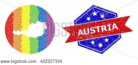 Pixel Spectrum Map Of Austria Mosaic Designed With Circle And Hole, And Textured Badge. Lgbt Spectru