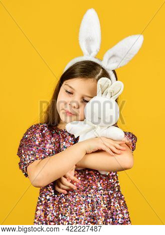 Tender Love. Springtime Concept. Little Girl Hold Hare Toy. Happy Childhood. Cute Child Play With To