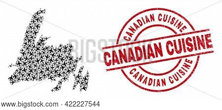 Canadian Cuisine Grunged Stamp, And Newfoundland Island Map Mosaic Of Air Force Elements. Mosaic New