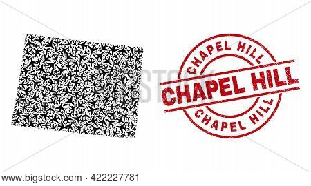Chapel Hill Rubber Seal Stamp, And Wyoming State Map Mosaic Of Jet Vehicle Items. Mosaic Wyoming Sta