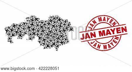 Jan Mayen Rubber Seal, And North Brabant Province Map Mosaic Of Airplane Items. Mosaic North Brabant
