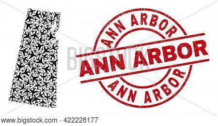 Ann Arbor Grunge Badge, And Saskatchewan Province Map Mosaic Of Aircraft Items. Mosaic Saskatchewan