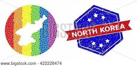 Dot Rainbow Gradiented Map Of North Korea Mosaic Created With Circle And Hole, And Distress Watermar