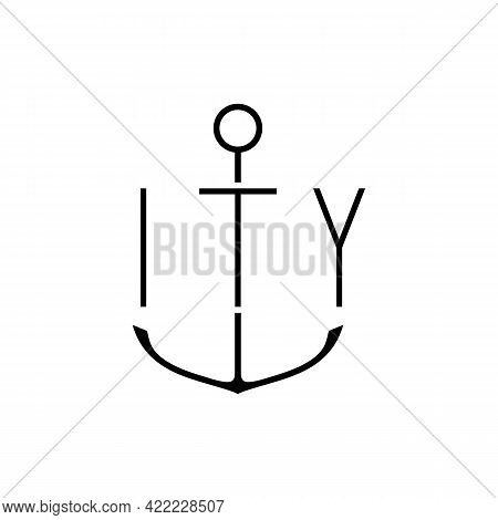 Illustration Vector Graphic Of Ity Letter Logo With Anchors