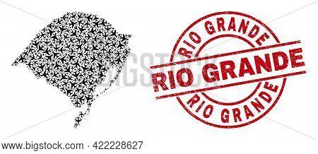 Rio Grande Rubber Seal Stamp, And Rio Grande Do Sul State Map Collage Of Air Plane Items. Mosaic Rio