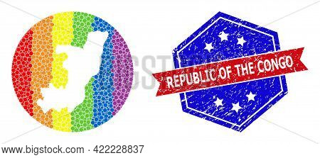 Dot Rainbow Gradiented Map Of Republic Of The Congo Mosaic Designed With Circle And Stencil, And Gru