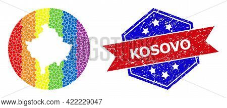 Pixelated Spectral Map Of Kosovo Collage Created With Circle And Stencil, And Textured Seal Stamp. L