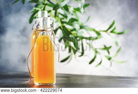 Fermented Raw Kombucha Drink Bottle. Gray Table Background With Copy Space