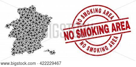 No Smoking Area Rubber Stamp, And Limburg Province Map Collage Of Aeroplane Elements. Collage Limbur