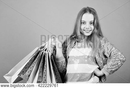 Sell-out. Kid Fashion. Shop Assistant With Package. Sales And Discounts. Special Offer. Holiday Purc