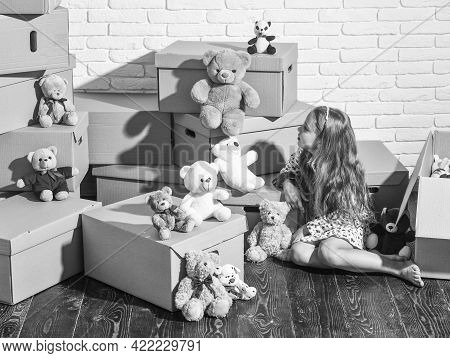 Playroom Concept. Moving In. Delivering Service. Feeling Good At Home. All She Needs Are Toys. Home