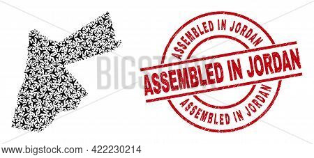 Assembled In Jordan Scratched Badge, And Jordan Map Mosaic Of Jet Vehicle Elements. Mosaic Jordan Ma