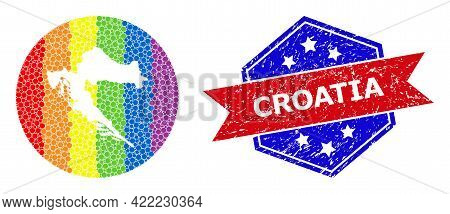 Dotted Spectrum Map Of Croatia Collage Designed With Circle And Subtracted Space, And Distress Seal