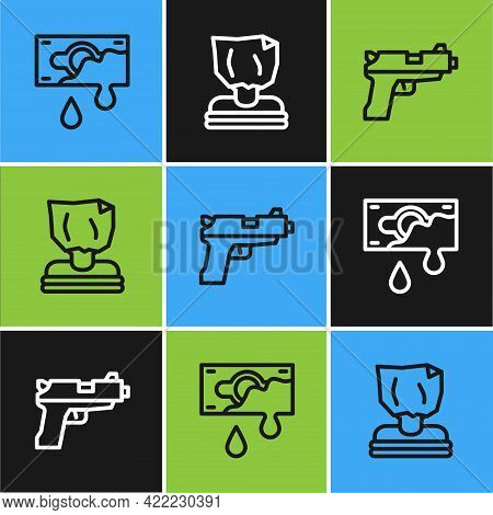 Set Line Bloody Money, Pistol Or Gun And Kidnaping Icon. Vector