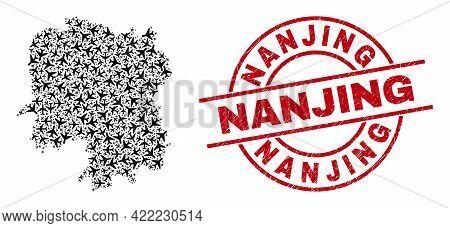 Nanjing Rubber Seal Stamp, And Hunan Province Map Mosaic Of Aeroplane Items. Mosaic Hunan Province M