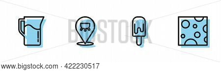 Set Line Ice Cream, Milk Jug Or Pitcher, Udder And Cheese Icon. Vector