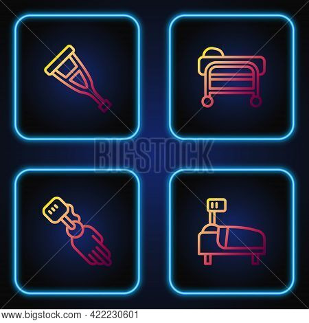 Set Line Hospital Bed, Prosthesis Hand, Crutch Or Crutches And Stretcher. Gradient Color Icons. Vect